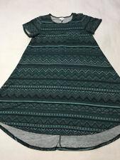 Lularoe S Small Black Teal Sweater Carly Dress Aztec Chevron Stripe Womens