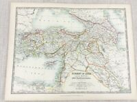 1896 Antik Map Of Türkei IN Asien Minor Transcaucasia 19th Jahrhundert Johnston