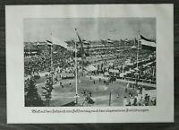 LPZ) Kunst Blatt Festplatz Leipzig Turnfest 1913 Zeppelin Biergarten  24x34cm