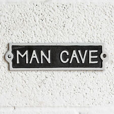 Vintage Cast Iron Man Cave Wall Sign Outdoor Garden Shed Garage Plaque Home Bar
