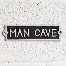VINTAGE CAST IRON MAN Grotta Segno Parete Da Giardino Capanno Garage Placca Home Bar