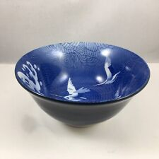 """Japanese Chinese Rice Soup Bowl 6""""D Porcelain Blue Crane & Wave Made in Japan"""
