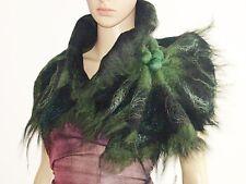 Wool Scarf Neckpiece Collar. Black & Green Felted Wool Scarf. Wearable Art Pleas