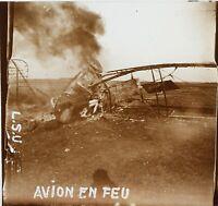 Frankreich Flugzeug IN Feu Krieg 14-18 Foto Stereo Platte De Verre VR12h