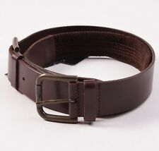 NWT $695 DOLCE & GABBANA Brown Leather Double-Buckle Jeans Belt 40 W Italy