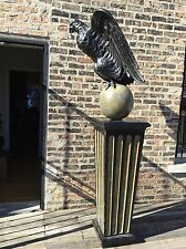 Carved Wood Life-Size American Eagle Pedestal W/ Eagle Perched On Sphere/Globe