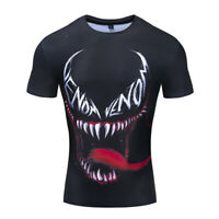 Men Tee T-Shirt Tights 3D Printed Venom Short Sleeve Gym Fitness Cycling Tops