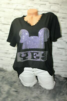 Italy New Collection Mickey Mouse T-Shirt schwarz Gr. 36 38 40 42 blogger Strass