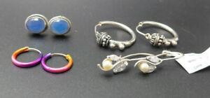 NEU 4 Paar Ohrringe 925 Sterling SILBER Silver earrings Zirkonia Konvolut
