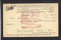 BROCKTON, MASSACHUSETTS 1894, GOVERNMENT POSTAL CARD, AD BURT & PACKARD,SHOES.