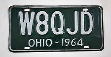 Vintage 1964 Original OHIO Amateur Radio License Plate W8QJD
