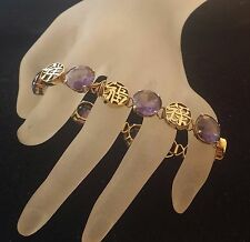 Estate 14K Gold 7 Amethyst Gems Bracelet Alternating 7 Chinese Good Luck Symbols