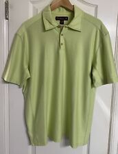 Tommy Bahama 18 Golf Men's Short Sleeve Shirt Green Polo Large Silk Blend GUC