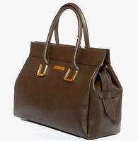Fati Brown Palmelato Italian Leather Tote Handbag/Office Bag/Oversize Bag/