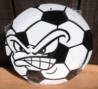 Angry Soccer Ball Face Round Sign Vintage Garage Bar Decor Old Rustic