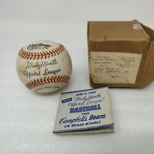 orig. 1962 MICKEY MANTLE CAMPBELL'S BEANS RAWLINGS BASEBALL w/ BOX w/ ORDER FORM