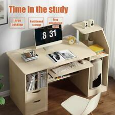 More details for 120cm pc table computer laptop desk study workstation with drawers shelf
