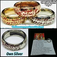 Size 11 Lord  Own Silver Rings Phra Ajarn O Thai Amulet Magic Yant Spell Lucky