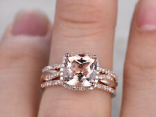 3.0 ct Cushion Cut Morganite 14K Rose Gold Over Infinity Wedding Trio Ring Set