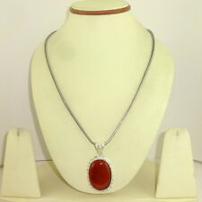 Pendant necklace natural red onyx gemstone semi precious stone beads jewelry