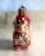 OLD WORLD GLASS CHRISTMAS ORNAMENT. MOUSE WITH CANDY GUC. NO BOX
