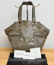 YSL Downtown Medium Gray Patent Shoulder Tote Bag Used Authentic w/ Dustbag