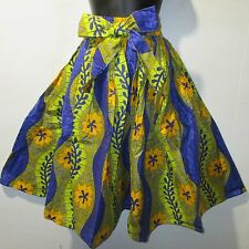 Kwanzaa Skirt Fits L XL 1X 2X Plus African Art Wax Print Blue Gold NWT 16321 04
