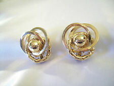 BERGERE Gold Plated Textured SWIRL Twist Clip Earrings Designer Signed Vintage