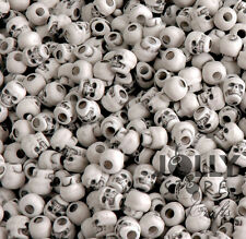 White Skull Pony Beads made in USA Halloween crafts paracord survival jewelry