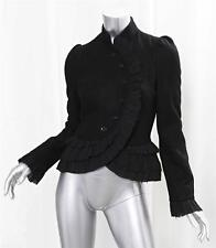 TOPSHOP Womens Classic Black Wool Military Victorian Ruffle Fitted Jacket Coat 4