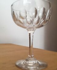 Four antique crystal dimple pattern champagne glasses/coupe /saucers