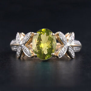 1.90Ct Natural Olive Green Peridot IGI Certified Diamond Ring In 14KT Gold