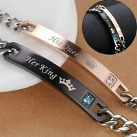 2pc/Set Couple Bracelets His Queen Her King Stainless Steel Matching Wristband