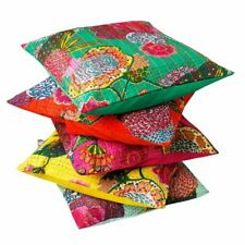 10 PC Kantha Throw Pillow Handmade Indian Cotton Cushion Cover Ethnic Decor