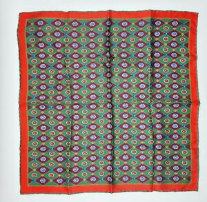 Gucci Burgundy/Green Silk Bee Gem Print Handkerchief Pocket Square 545815 3164