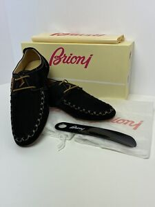 Brioni Shoes Black Suede Gorgeous Lace Loafers Moccasins Very Soft And Light 8US