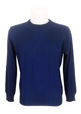 FENZI maglione blu reale girocollo lana slim man blue crewneck sweater wool 46