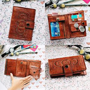 Kelimutu Women's Mandala Medium Wallet Ladies Purse Genuine Leather Dark Brown