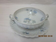VINTAGE HAVILAND LIMOGES CHINA FLAT CREAM SOUP BOWL & SAUCER BERGERE PAT.