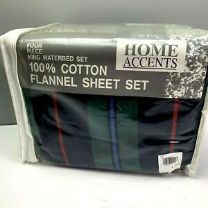 Vintage 1980s New King Waterbed Flannel Sheet Set Plaid Blue Green Red 4 pc Set