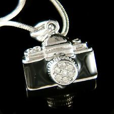 w Swarovski Crystal ~Black Camera Lens~ Photographer Photography Charm Necklace