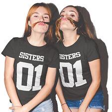 Pärchen T Shirt Sister Set 2 T Shirts Schwester Best Friends Liebe NEU! XS-3XL