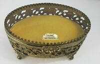 Vintage Globe Hinged Brass Glass Trinket Ormolu Dresser Box Hollywood Regency
