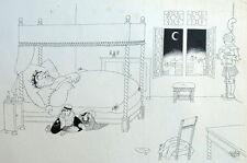 Cambriolage Cambrioleur Lit Humour - Caricature Albert Dubout 1944