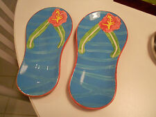 """sandal hand painted side plates-by dennis east-2005 issue-vg+ 8 1/2"""" x 4 1/4"""""""