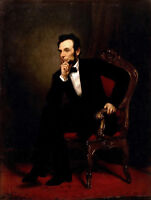 CHOPT698 100% hand painted ABRAHAM-LINCOLN portrait oil painting art on canvas