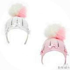 BABY POMPOM HAT WITH DIAMONTES & BOW AVAILABLE IN PINK & WHITE 0-12 MONTHS