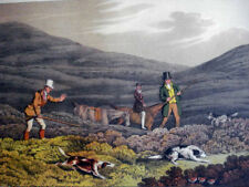 Antique Hand Colored Aquatint H.Alken GROUSE SHOOTING 1820 Hunting, Rifle Sport