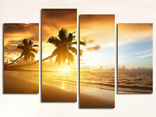 BEACH SUNSET LARGE CANVAS PRINTS SET OF 4 (ON FRAME) WALL ART
