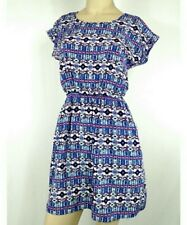 Republic Boho Blue Aztec Print Short Sleeve Sundress Women's Junior Small Dress
